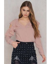SHEIN - Cut Out Shoulder Frill Blouse - Lyst