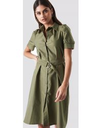 NA-KD - Belted Shirt Dress Khaki Green - Lyst