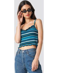 NA-KD - Striped Babylock Singlet Turquoise - Lyst