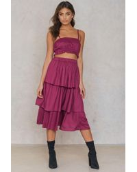 NA-KD - Triple Layer Skirt Burgundy - Lyst