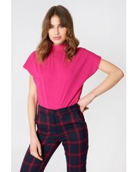 NA-KD - High Neck Cap Sleeve Top Strong Pink - Lyst