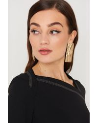Mango - Embossed Earring Gold - Lyst