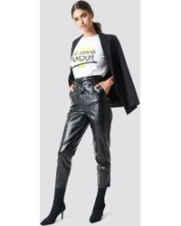 NA-KD - Paperwaist Patent Leather Trousers - Lyst