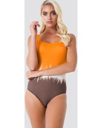 Trendyol - Deep Back Printed Swimsuit - Lyst