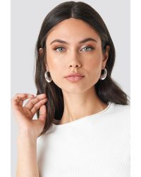 NA-KD - Thick Pointy Hoops (double Pack) Silver - Lyst