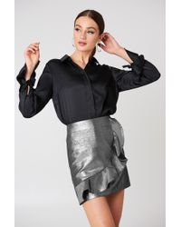 Glamorous - Metallic Frill Skirt - Lyst