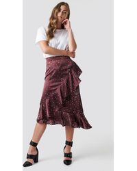 Rut&Circle - Dotty Frill Skirt Wine Red - Lyst
