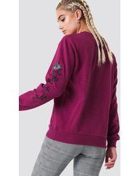 NA-KD - Rose Embroidery Sleeve Sweater Burgundy - Lyst