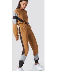 NA-KD - Blocked Sweatpants Golden Beige - Lyst