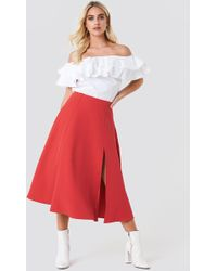 Trendyol - Slit Midi Skirt Red - Lyst