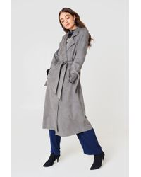 NA-KD - Faux Suede Bonded Trenchcoat - Lyst