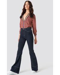 Trendyol - High Waist Flare Jeans Navy - Lyst