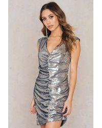 NA-KD - Gathered Front Sequins Dress - Lyst