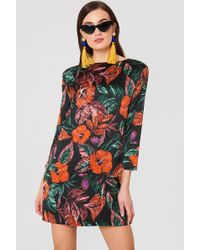 Mango - Floral Pattern Dress Black - Lyst