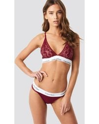 Calvin Klein - Modern Cotton Lace Thong Ember Blaze - Lyst