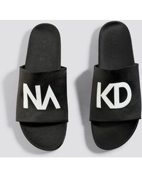 e71518ab0d17 Lyst - NA-KD Fluffy Slippers in Black