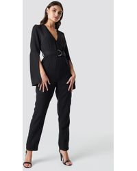 2c409e74b435 New Look Tall Black Tie Front Ribbed Culotte Jumpsuit in Black - Lyst