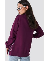 NA-KD - Slit Embroidery Sweatshirt - Lyst