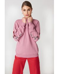 NA-KD - Rose Embroidery Sleeve Sweater Pink/red - Lyst