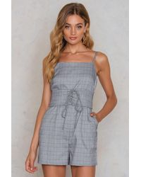 Glamorous - Ruffle Tie Front Playsuit - Lyst