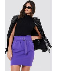Trendyol - Belted Highwaist Mini Skirt Purple - Lyst