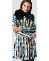 Glamorous - Fluffy Collar Coat Blue/yellow - Lyst