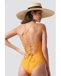 NA-KD - Lacing Back Swimsuit Citrus - Lyst