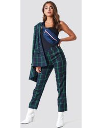 NA-KD - Straight Chequered Suit Trousers Green - Lyst