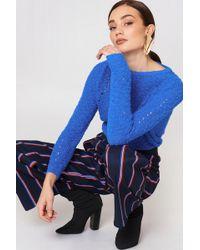 Mango - Openwork Knit Jumper Medium Blue - Lyst