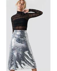 7620ff188e Miss Selfridge Petite Silver Pleated Skirt in Metallic - Lyst