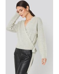 NA-KD - Overlap Tied Knitted Sweater Grey - Lyst