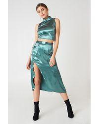 Glamorous - Midi Slit Skirt Teal - Lyst