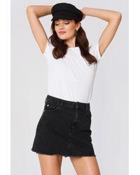 Mango - Frayed Edges Denim Skirt Open Grey - Lyst