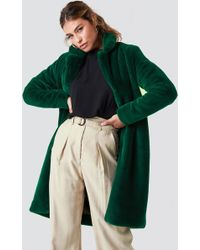 Rut&Circle - Long Faux Fur Coat Emerald Green - Lyst