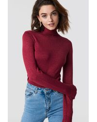 NA-KD - Polo Neck Glittery Sweater Red - Lyst