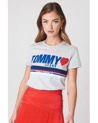 49461bc2b1f Lyst - Tommy Hilfiger Plus Size Cotton Printed T-shirt in White