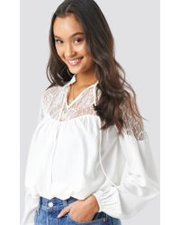 bbc44aebd0cab8 NA-KD Balloon Sleeve Short Blouse Yellow in Yellow - Lyst