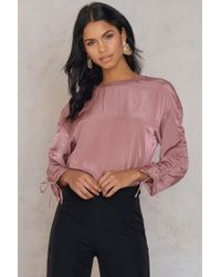 Saint Tropez - Gathered Sleeve Blouse - Lyst