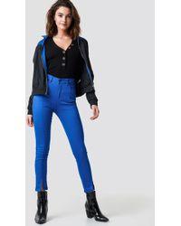 NA-KD - Highwaist Skinny Front Slit Jeans Cobolt - Lyst