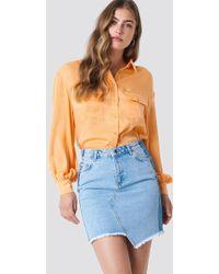 Trendyol - Asymmetric Raw Cut Denim Skirt - Lyst