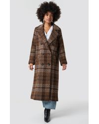 Mango - Long Coat Brown - Lyst