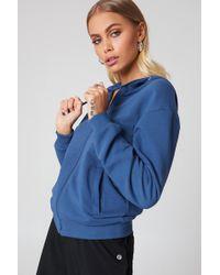 NA-KD - Basic Zipped Hoodie Dark Dusty Blue - Lyst