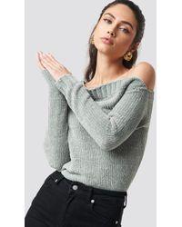 Rut&Circle - Chenille Off Shoulder Knit Light Grey - Lyst