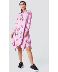 NA-KD - Asymmetric Midi Shirt Dress Violet Branch Pattern - Lyst