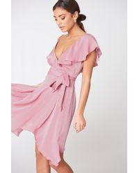 NA-KD   Asymmetric Wrap Frill Dress   Lyst