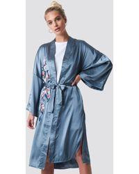 NA-KD - Embroidery Satin Kimono - Lyst