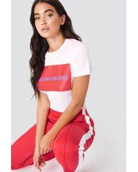Calvin Klein - Institutional Box Logo Regular Fit Tee Bright White / Tomato - Lyst