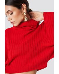 Glamorous - Knitted Wide Sleeve Sweater Red - Lyst