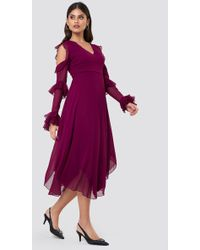 Trendyol - Cold Shoulder Frill Midi Dress - Lyst