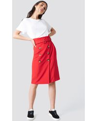 Trendyol - Button Detailed Midi Skirt Red - Lyst